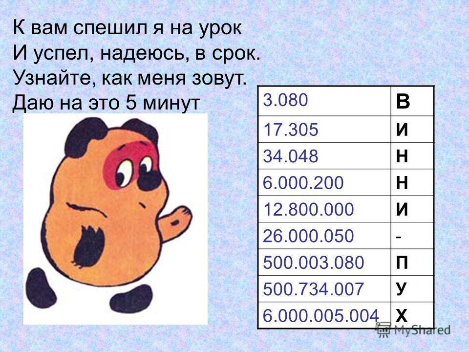 3.080 В 17.305И 34.048Н 6.000.200Н 12.800.000И 26.000.050- 500.003.080П 500.734.007У 6.000.005.004Х К вам спешил я на урок И успел, надеюсь, в срок. Узнайте, как меня зовут. Даю на это 5 минут