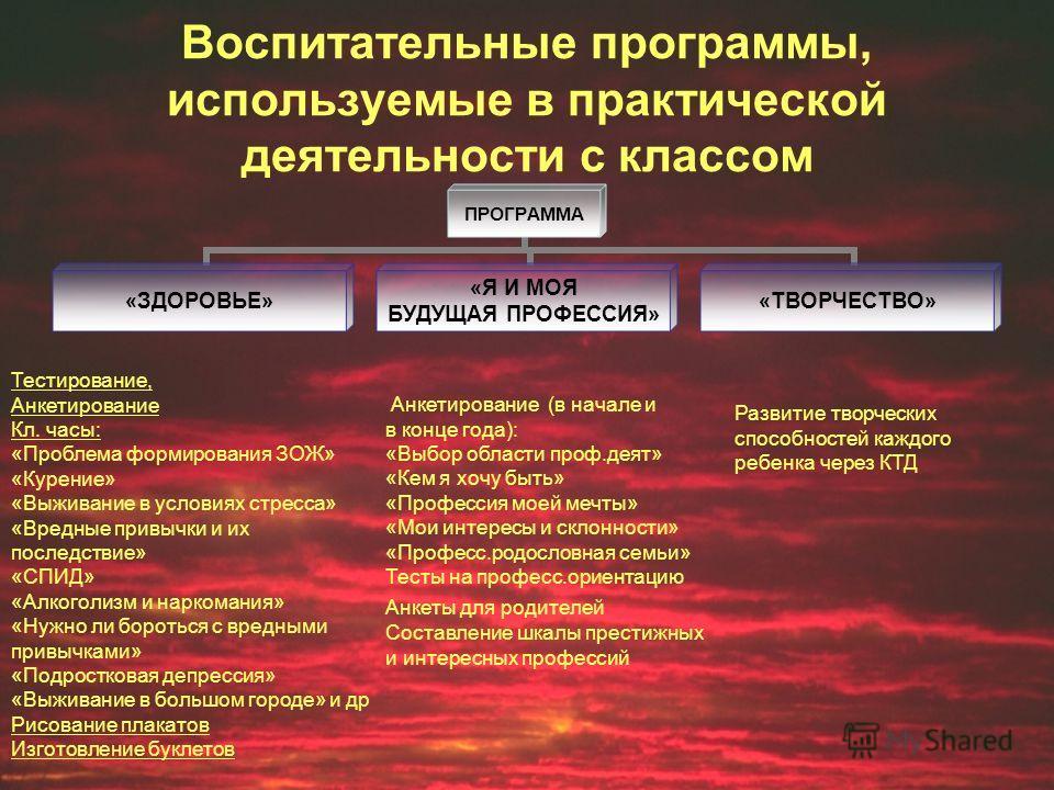 Воспитательные программы, используемые в практической деятельности с классом ПРОГРАММА «ЗДОРОВЬЕ» «Я И МОЯ БУДУЩАЯ ПРОФЕССИЯ» «ТВОРЧЕСТВО» Тестирование, Анкетирование Кл. часы: «Проблема формирования ЗОЖ» «Курение» «Выживание в условиях стресса» «Вре