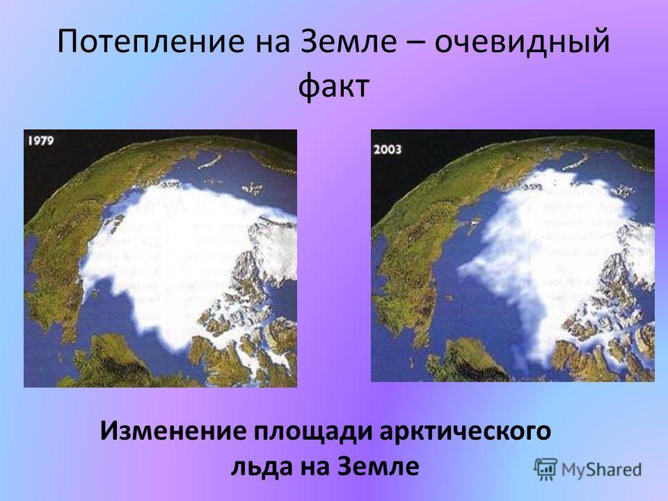 Потепление на Земле – очевидный факт Изменение площади арктического льда на Земле