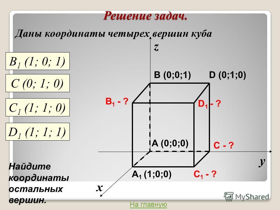 Решение задач. Даны координаты четырех вершин куба х у z C 1 - ? C - ? A 1 (1;0;0) B 1 - ? D 1 - ? A (0;0;0) B (0;0;1)D (0;1;0) В 1 (1; 0; 1) С (0; 1; 0) С 1 (1; 1; 0) D 1 (1; 1; 1) Найдите координаты остальных вершин. На главную