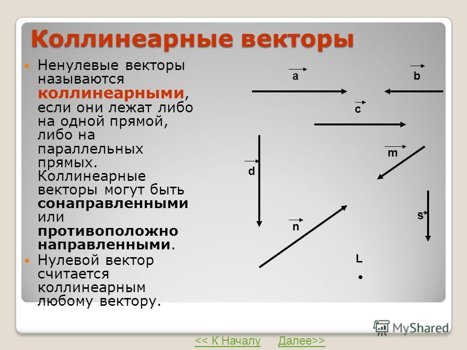 Коллинеарные векторы Ненулевые векторы называются коллинеарными, если они лежат либо на одной прямой, либо на параллельных прямых. Коллинеарные векторы могут быть сонаправленными или противоположно направленными. Нулевой вектор считается коллинеарным