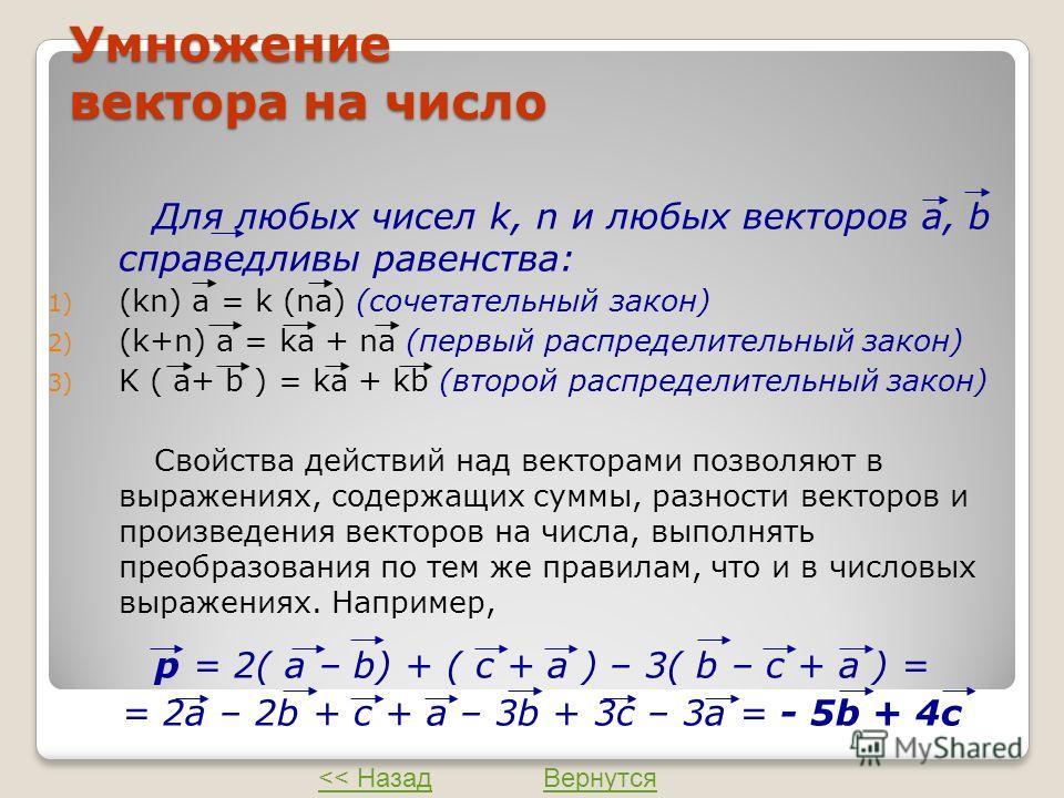 Умножение вектора на число Для любых чисел k, n и любых векторов а, b справедливы равенства: 1) (kn) а = k (na) (сочетательный закон) 2) (k+n) а = kа + na (первый распределительный закон) 3) K ( а+ b ) = kа + kb (второй распределительный закон) Свойс