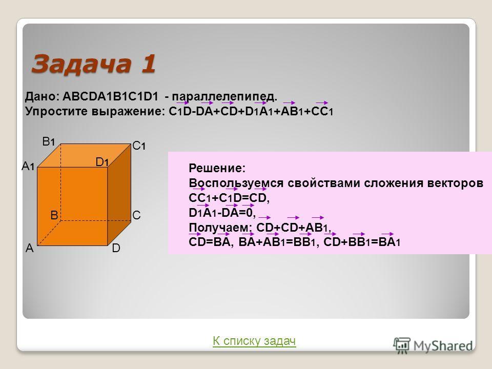 Задача 1 Дано: ABCDA1B1C1D1 - параллелепипед. Упростите выражение: C 1 D-DA+CD+D 1 A 1 +AB 1 +CC 1 А ВС D A1A1 B1B1 C1C1 D1D1 Решение: Воспользуемся свойствами сложения векторов СС 1 +С 1 D=CD, D 1 A 1 -DA=0, Получаем: CD+CD+AB 1, CD=BA, BA+AB 1 =BB