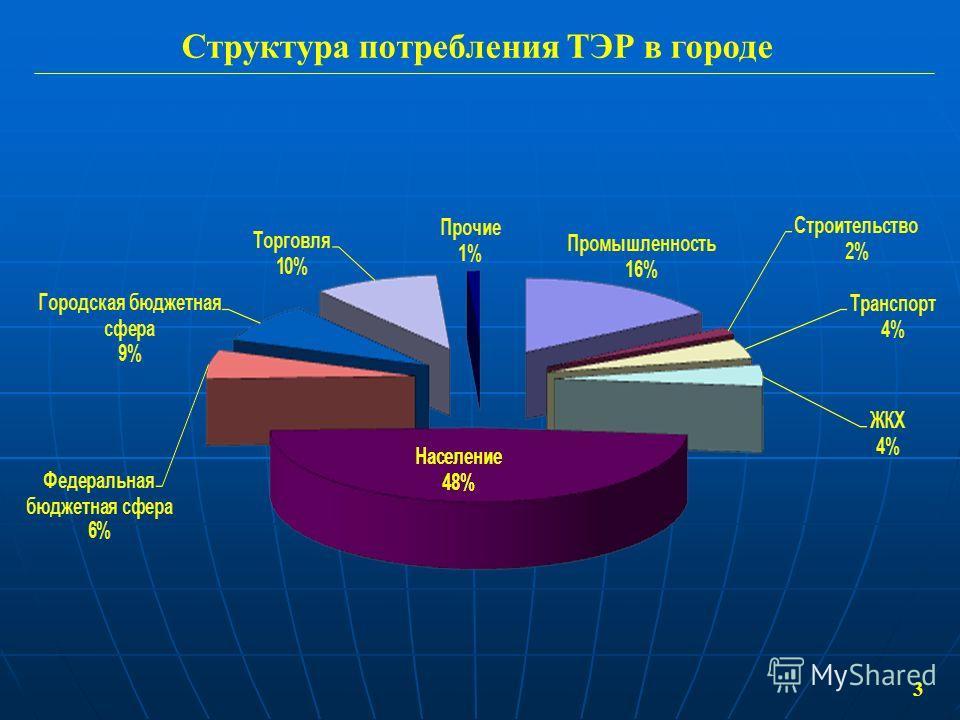 Структура потребления ТЭР в городе 3