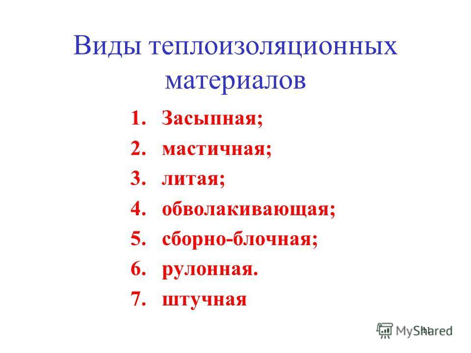 11 Виды теплоизоляционных материалов 1.Засыпная; 2.мастичная; 3.литая; 4.обволакивающая; 5.сборно-блочная; 6.рулонная. 7.штучная