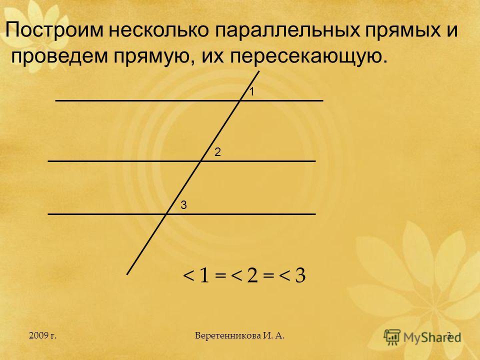 2009 г.3 Построим несколько параллельных прямых и проведем прямую, их пересекающую. 1 2 3 < 1 = < 2 = < 3 Веретенникова И. А.