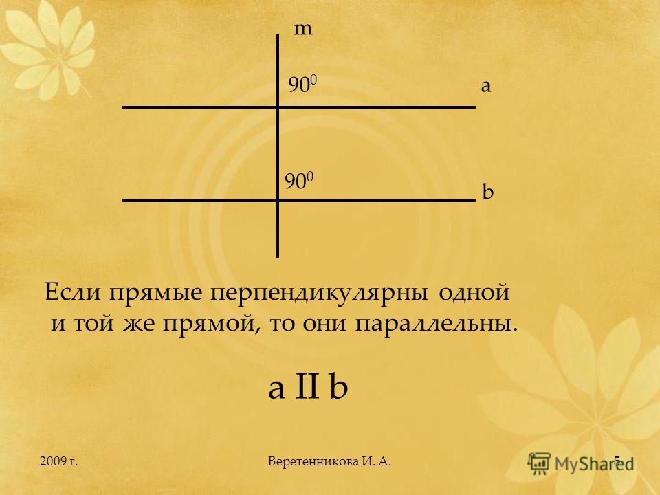2009 г.5 a b m 90 0 Если прямые перпендикулярны одной и той же прямой, то они параллельны. a II b Веретенникова И. А.