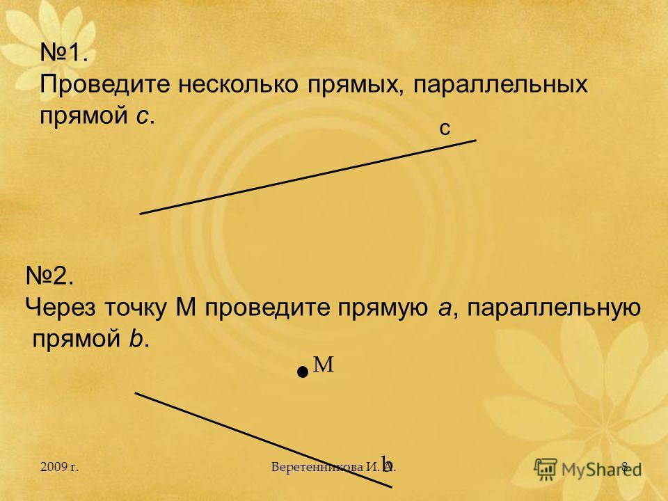 2009 г.8 1. Проведите несколько прямых, параллельных прямой с. с 2. Через точку М проведите прямую а, параллельную прямой b. M b Веретенникова И. А.