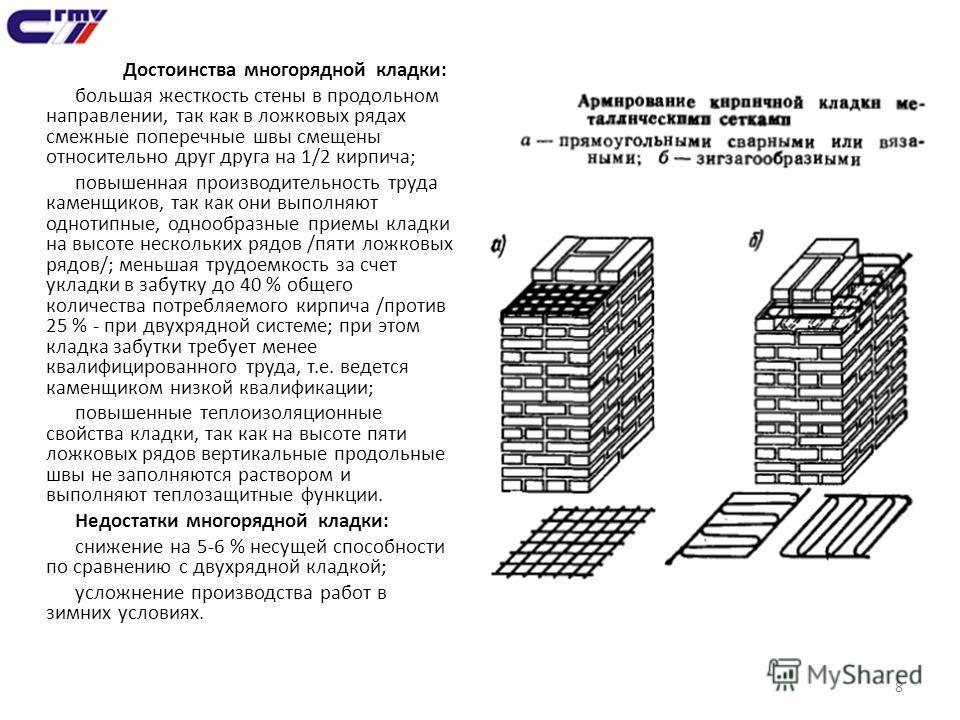 8 Достоинства многорядной кладки: большая жесткость стены в продольном направлении, так как в ложковых рядах смежные поперечные швы смещены относительно друг друга на 1/2 кирпича; повышенная производительность труда каменщиков, так как они выполняют