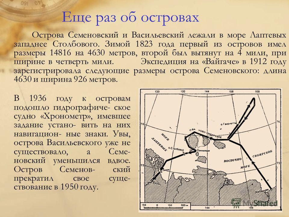 Еще раз об островах Острова Семеновский и Васильевский лежали в море Лаптевых западнее Столбового. Зимой 1823 года первый из островов имел размеры 14816 на 4630 метров, второй был вытянут на 4 мили, при ширине в четверть мили. Экспедиция на «Вайгаче»