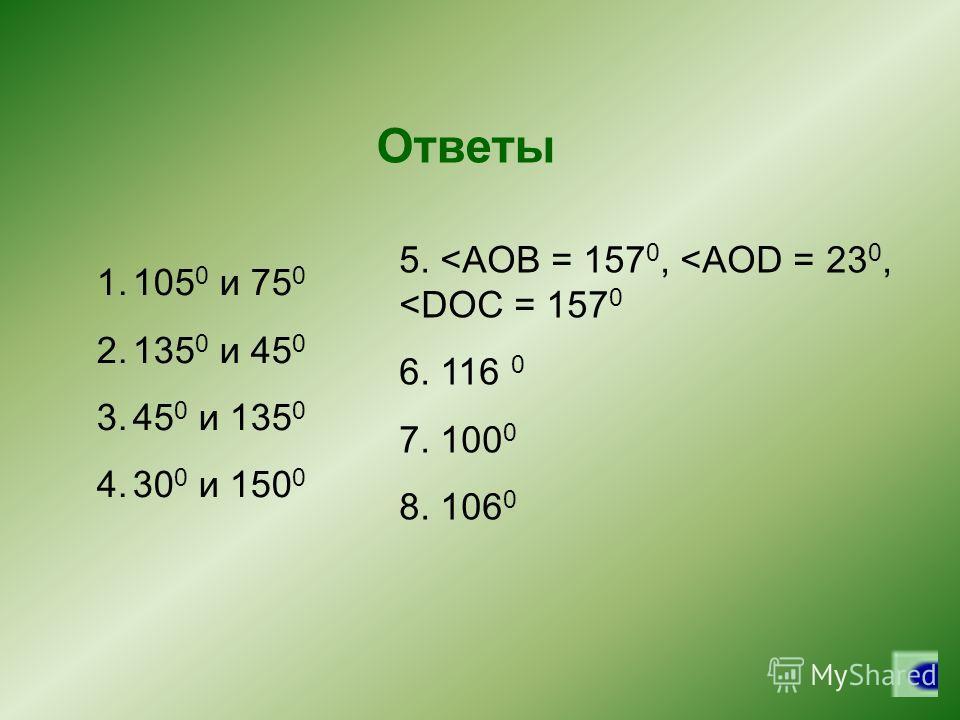 Ответы 1.105 0 и 75 0 2.135 0 и 45 0 3.45 0 и 135 0 4.30 0 и 150 0 5.