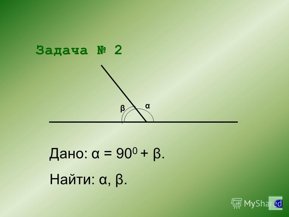α β Задача 2 Дано: α = 90 0 + β. Найти: α, β.