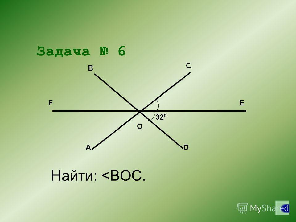 Задача 6 32 0 A C B D FE O Найти: