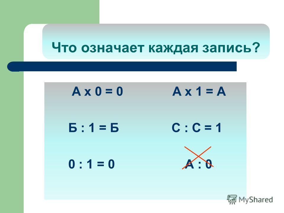 Что означает каждая запись? А х 0 = 0 А х 1 = А Б : 1 = Б С : С = 1 0 : 1 = 0 А : 0