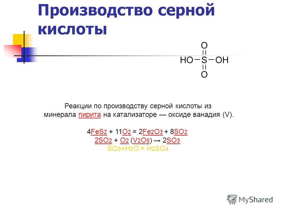 Производство серной кислоты Реакции по производству серной кислоты из минерала пирита на катализаторе оксиде ванадия (V).пирита 4FeS 2 + 11O 2 = 2Fe 2 O 3 + 8SO 2FeS 2O 2Fe 2 O 3SO 2 2SO 2 2SO 2 + O 2 (V 2 O 5 ) 2SO 3O 2V 2 O 5SO 3 SO 3 +Н 2 О = Н 2