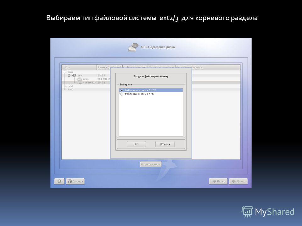 Выбираем тип файловой системы ext2/3 для корневого раздела