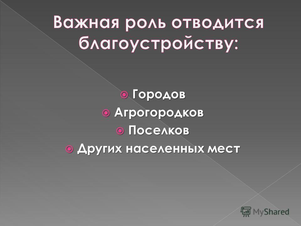 Городов Городов Агрогородков Агрогородков Поселков Поселков Других населенных мест Других населенных мест