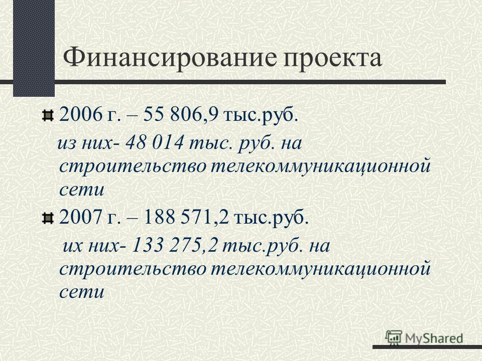 Финансирование проекта 2006 г. – 55 806,9 тыс.руб. из них- 48 014 тыс. руб. на строительство телекоммуникационной сети 2007 г. – 188 571,2 тыс.руб. их них- 133 275,2 тыс.руб. на строительство телекоммуникационной сети
