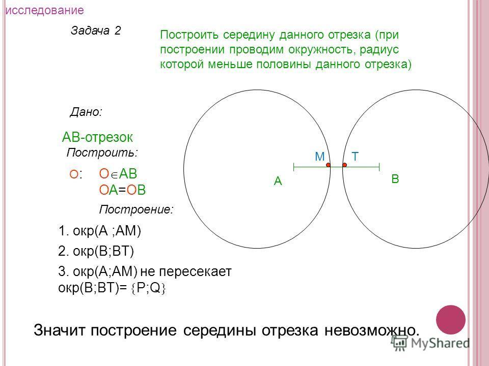 Задача 2 Построить середину данного отрезка (при построении проводим окружность, радиус которой меньше половины данного отрезка) Дано: АВ-отрезок А Построить: О АВ ОА=ОВ О:О: Построение: 1. окр(А ;АM) 2. окр(В;ВT) 3. окр(А;АM) не пересекает окр(В;ВT)