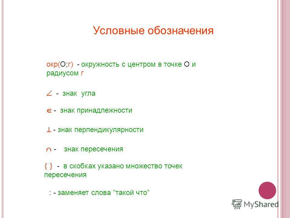 Условные обозначения - знак угла окр(О;г) - окружность с центром в точке О и радиусом г - знак пересечения - в скобках указано множество точек пересечения - знак принадлежности - знак перпендикулярности : - заменяет слова такой что