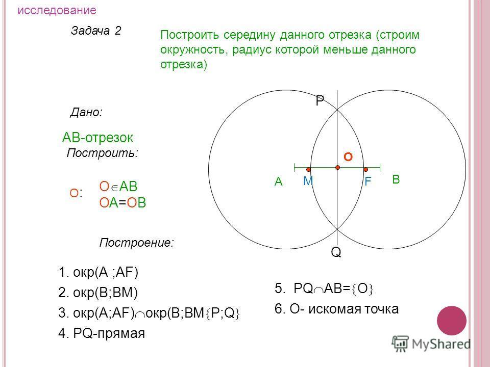 Задача 2 Построить середину данного отрезка (строим окружность, радиус которой меньше данного отрезка) Дано: АВ-отрезок А Построить: О АВ ОА=ОВ О:О: Построение: 1. окр(А ;АF) 2. окр(В;ВM) 3. окр(А;АF) окр(В;ВM P;Q 4. PQ-прямая P Q 5. PQ AB= O О 6. O-