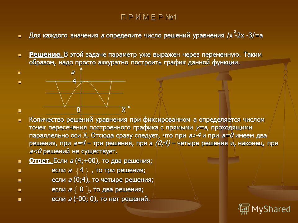 П Р И М Е Р 1 Для каждого значения а определите число решений уравнения /x -2x -3/=a Для каждого значения а определите число решений уравнения /x -2x -3/=a Решение. В этой задаче параметр уже выражен через переменную. Таким образом, надо просто аккур