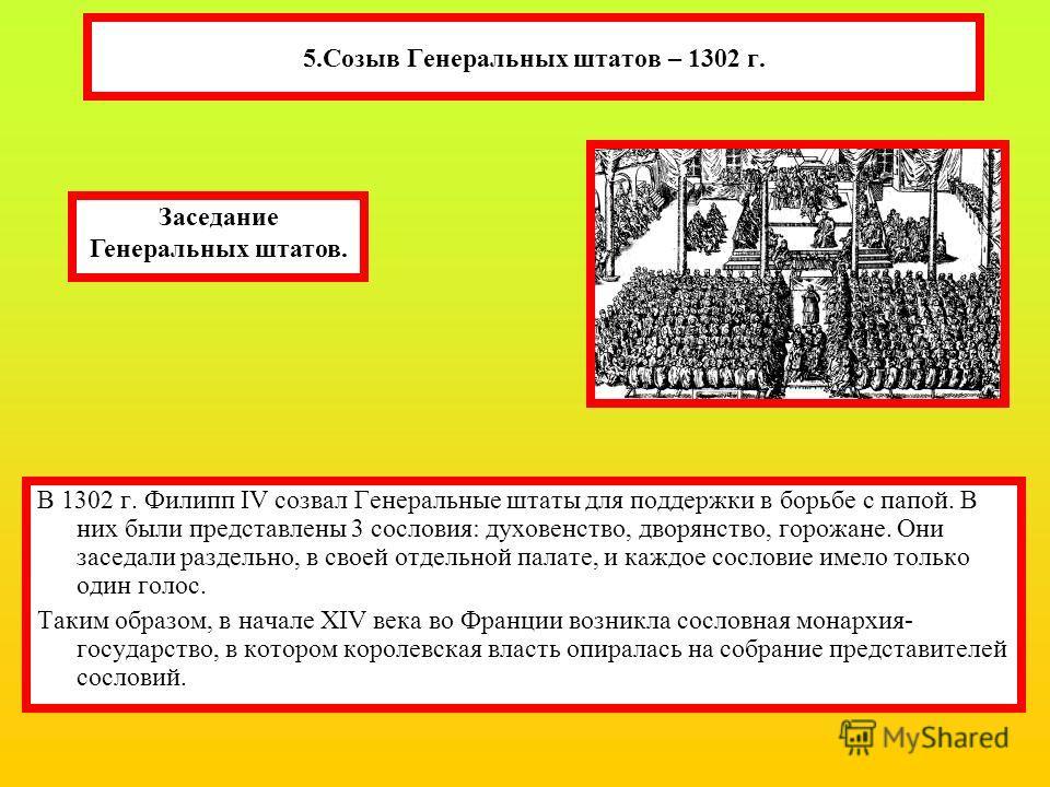 5.Созыв Генеральных штатов – 1302 г. В 1302 г. Филипп IV созвал Генеральные штаты для поддержки в борьбе с папой. В них были представлены 3 сословия: духовенство, дворянство, горожане. Они заседали раздельно, в своей отдельной палате, и каждое сослов