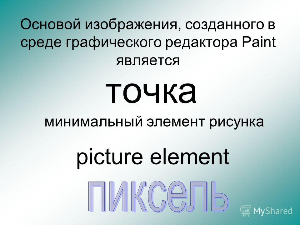 Основой изображения, созданного в среде графического редактора Paint является точка минимальный элемент рисунка picture element