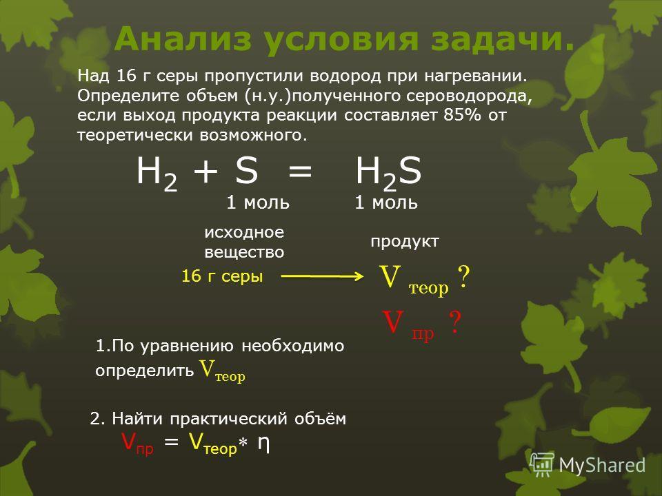 Анализ условия задачи. Над 16 г серы пропустили водород при нагревании. Определите объем (н.у.)полученного сероводорода, если выход продукта реакции составляет 85% от теоретически возможного. H 2 + S = H 2 S 1 моль 1 моль исходное вещество продукт 16