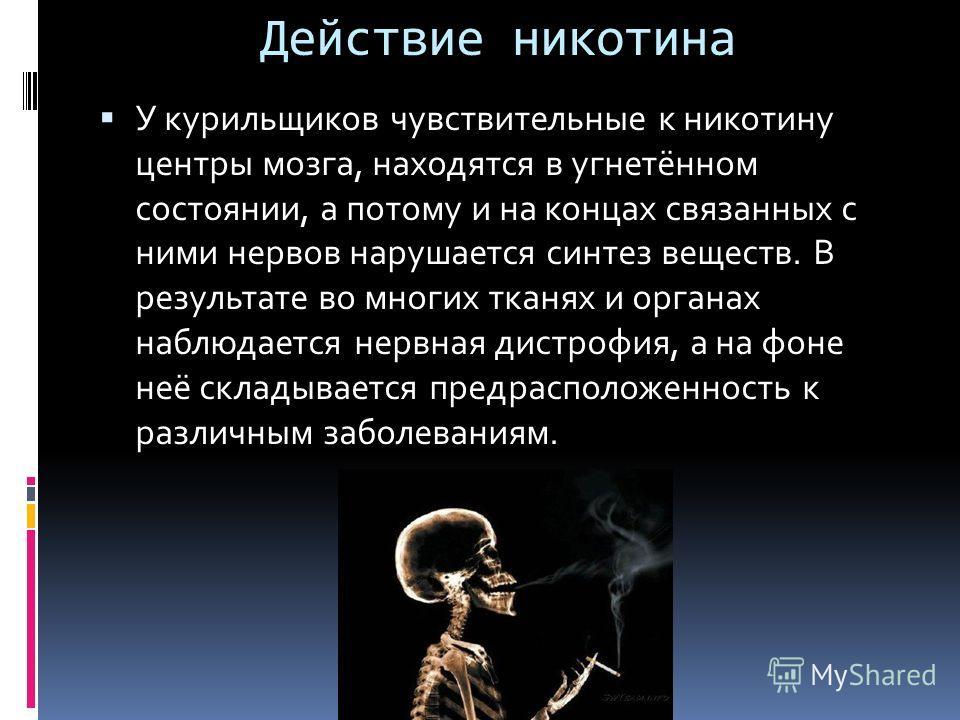 Действие никотина У курильщиков чувствительные к никотину центры мозга, находятся в угнетённом состоянии, а потому и на концах связанных с ними нервов нарушается синтез веществ. В результате во многих тканях и органах наблюдается нервная дистрофия, а
