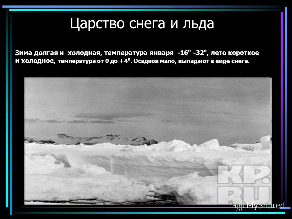 Царство снега и льда Зима долгая и холодная, температура января -16 -32, лето короткое и холодное, температура от 0 до +4. Осадков мало, выпадают в виде снега.