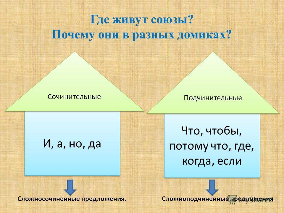 Где живут союзы? Почему они в разных домиках? Сложносочиненные предложения. Сложноподчиненные предложения И, а, но, да Что, чтобы, потому что, где, когда, если Сочинительные Подчинительные