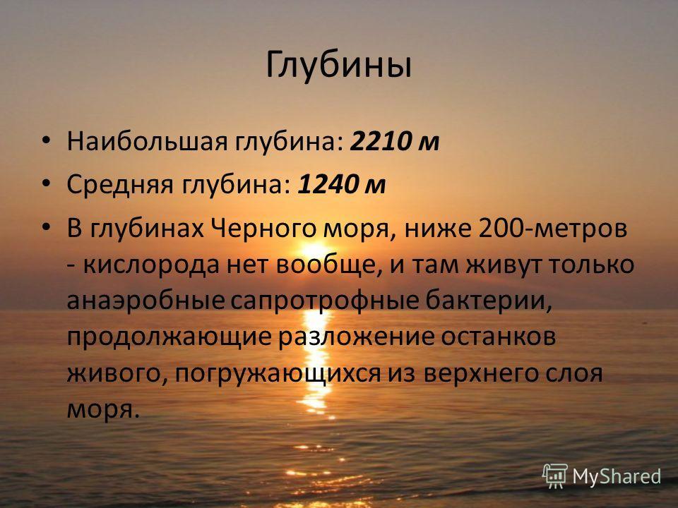 Глубины Наибольшая глубина: 2210 м Средняя глубина: 1240 м В глубинах Черного моря, ниже 200-метров - кислорода нет вообще, и там живут только анаэробные сапротрофные бактерии, продолжающие разложение останков живого, погружающихся из верхнего слоя м