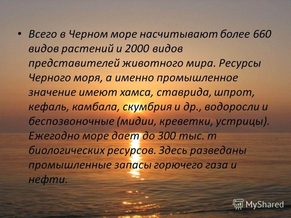 Всего в Черном море насчитывают более 660 видов растений и 2000 видов представителей животного мира. Ресурсы Черного моря, а именно промышленное значение имеют хамса, ставрида, шпрот, кефаль, камбала, скумбрия и др., водоросли и беспозвоночные (мидии