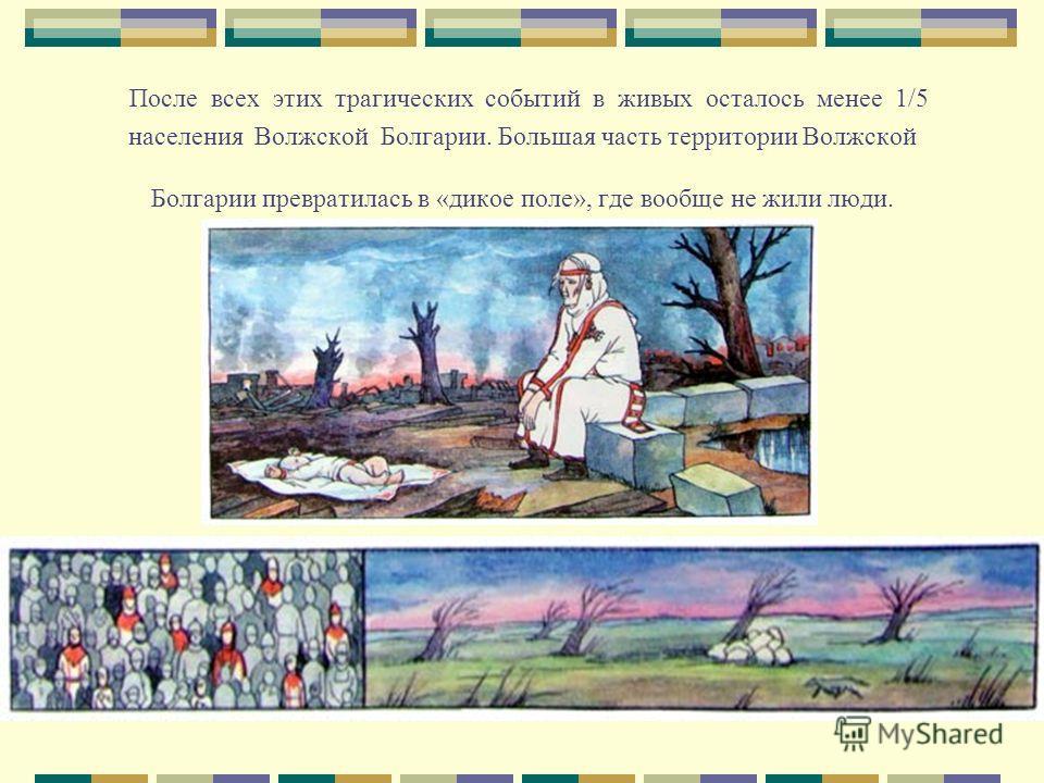 После всех этих трагических событий в живых осталось менее 1/5 населения Волжской Болгарии. Большая часть территории Волжской Болгарии превратилась в «дикое поле», где вообще не жили люди.