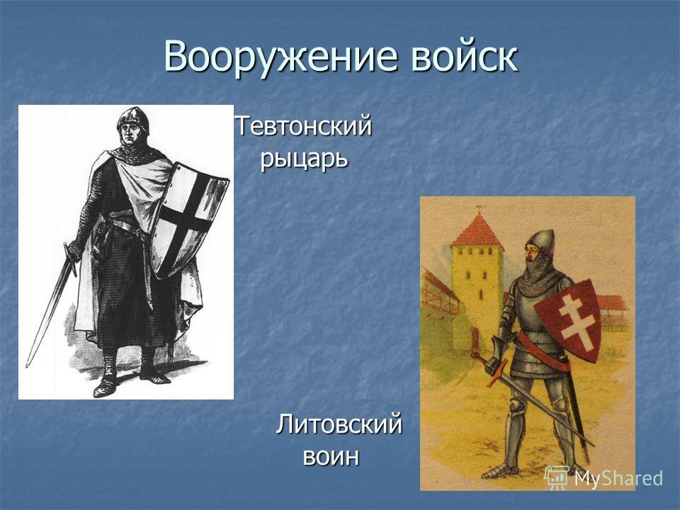 Вооружение войск Тевтонский рыцарь Литовский воин Литовский воин