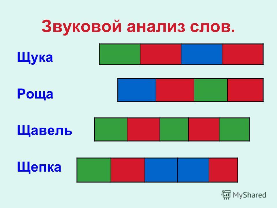 Звуковой анализ слов. Щука Роща Щавель Щепка