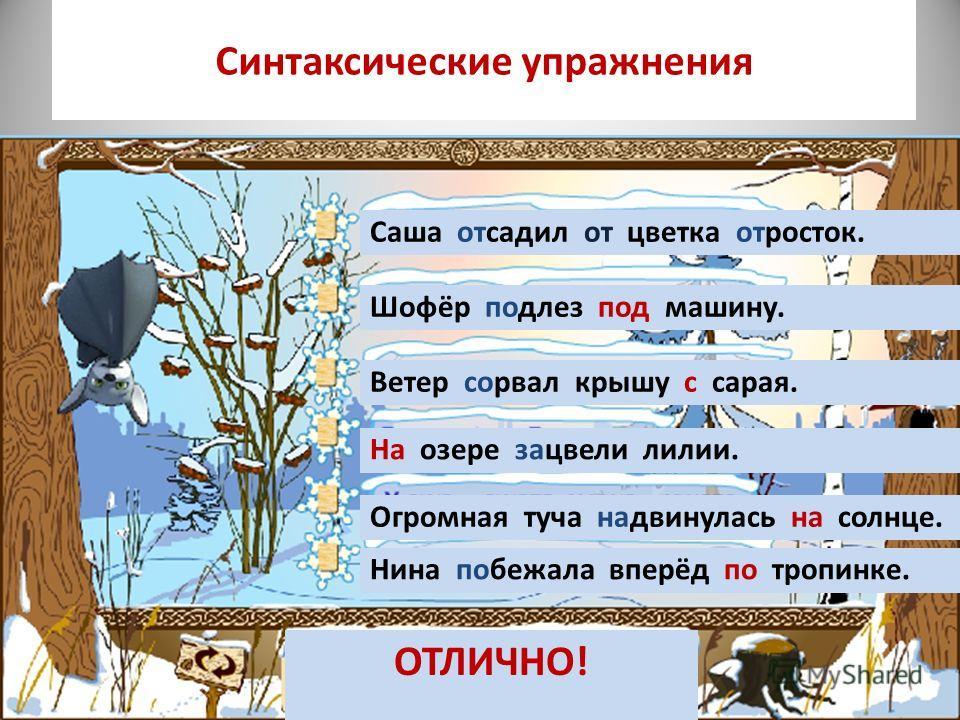 Синтаксические упражнения Саша, (от) цветка, (от) садил, (от) росток Шофёр, (под) машину, (под) лез. Огромная, (на) двинулась, туча, (на) солнце Нина, (по) тропинке, вперёд, (по) бежала Ветер,(с) сарая, крышу, (со) рвал. (На) озере, лилии, (за) цвели