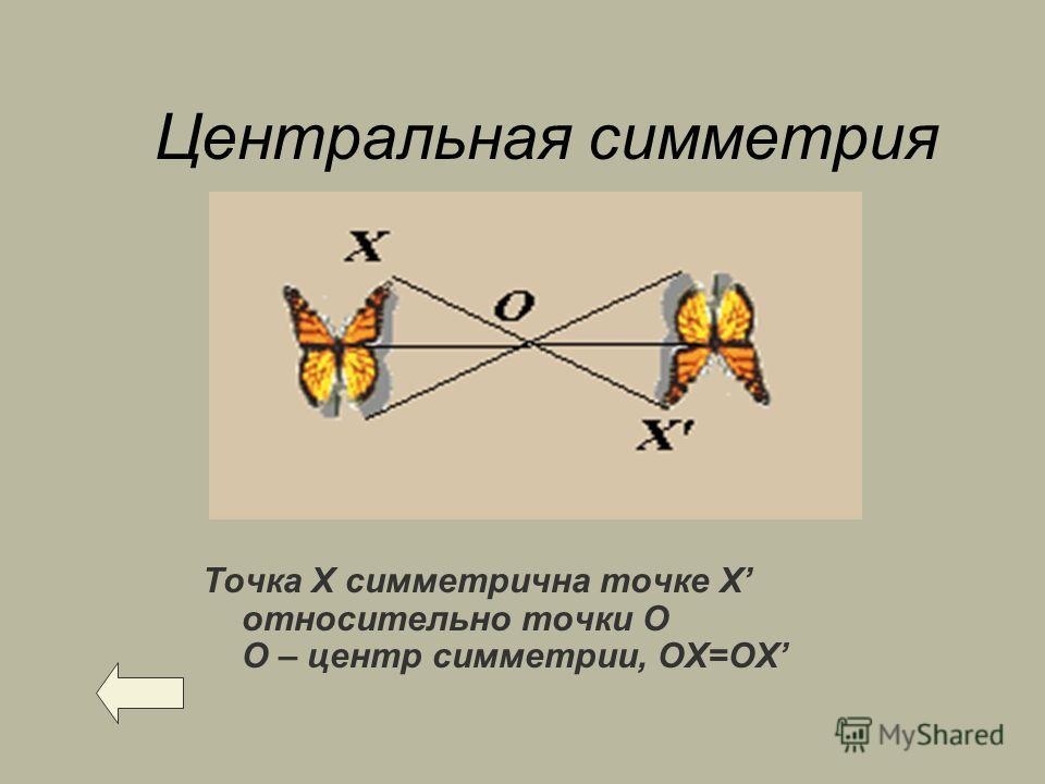 Центральная симметрия Точка Х симметрична точке X относительно точки О О – центр симметрии, ОХ=ОX