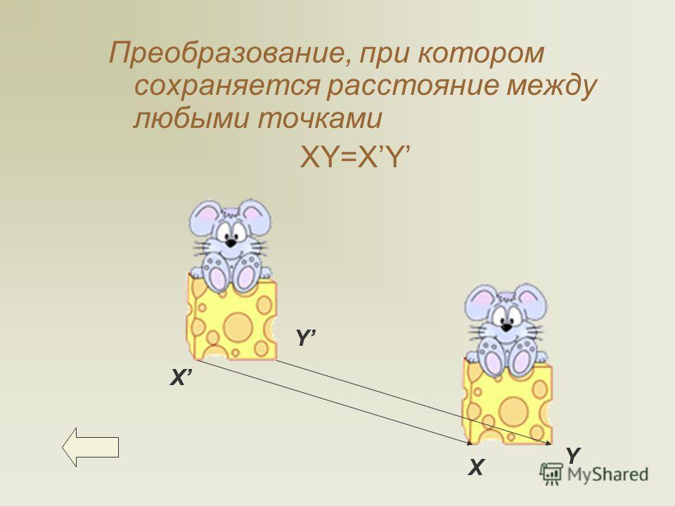 Преобразование, при котором сохраняется расстояние между любыми точками XY=XY Х Х Y Y