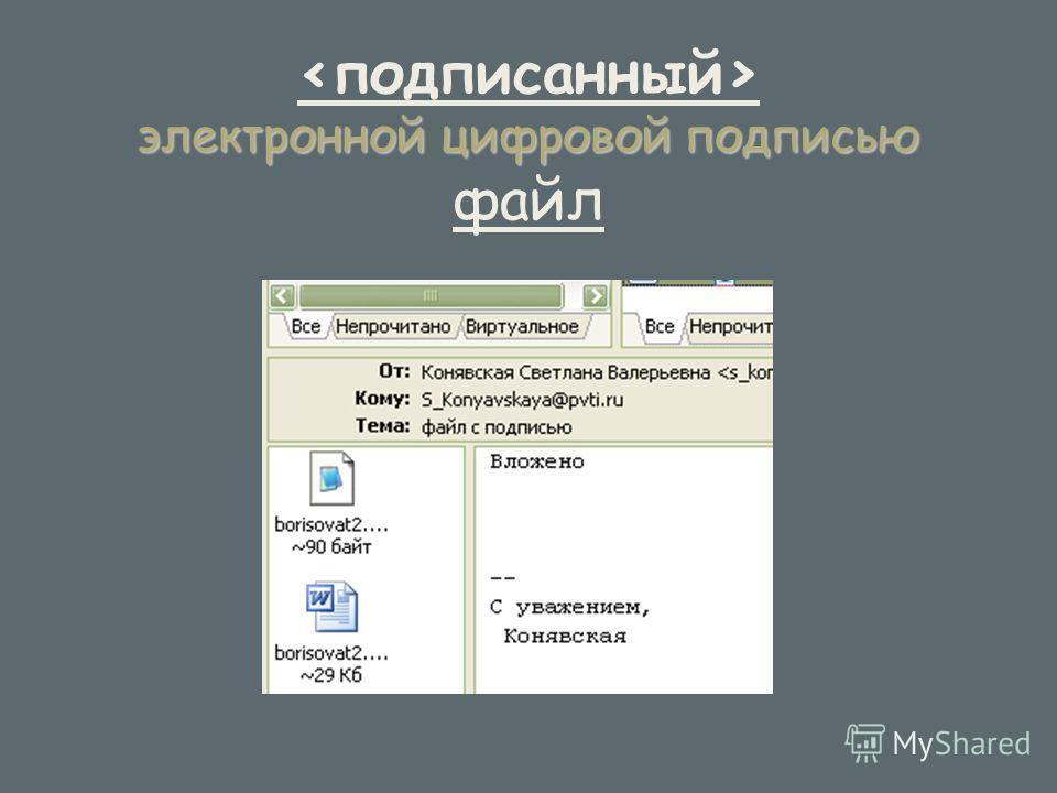 электронной цифровой подписью электронной цифровой подписью файл