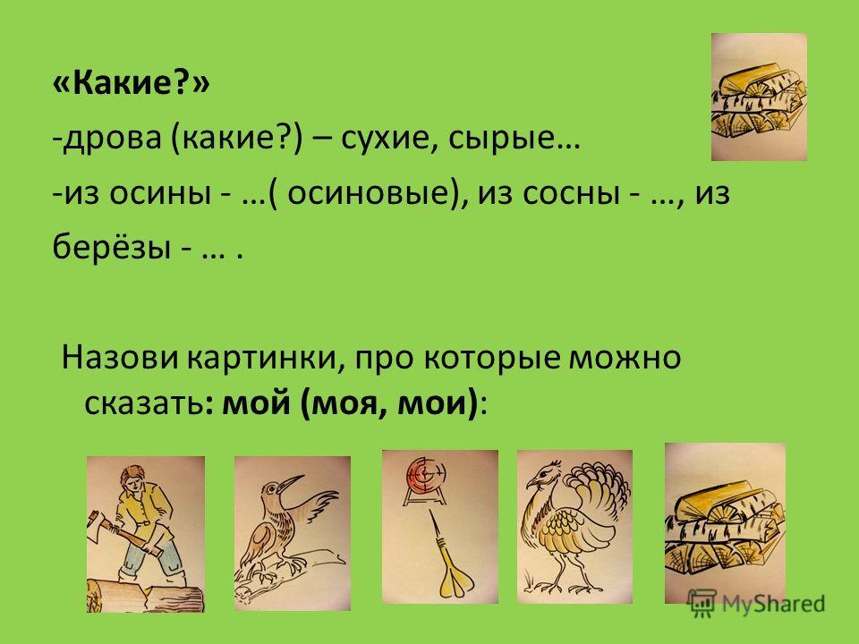 «Какие?» -дрова (какие?) – сухие, сырые… -из осины - …( осиновые), из сосны - …, из берёзы - …. Назови картинки, про которые можно сказать: мой (моя, мои):
