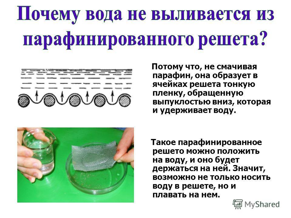 Потому что, не смачивая парафин, она образует в ячейках решета тонкую пленку, обращенную выпуклостью вниз, которая и удерживает воду. Такое парафинированное решето можно положить на воду, и оно будет держаться на ней. Значит, возможно не только носит