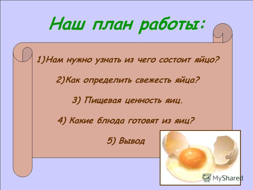 Наш план работы: 1)Нам нужно узнать из чего состоит яйцо? 2)Как определить свежесть яйца? 3) Пищевая ценность яиц. 4) Какие блюда готовят из яиц? 5) Вывод