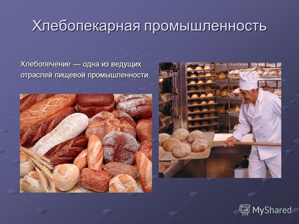 Хлебопекарная промышленность Хлебопечение одна из ведущих отраслей пищевой промышленности.