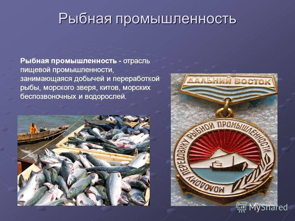 Рыбная промышленность Рыбная промышленность - отрасль пищевой промышленности, занимающаяся добычей и переработкой рыбы, морского зверя, китов, морских беспозвоночных и водорослей.