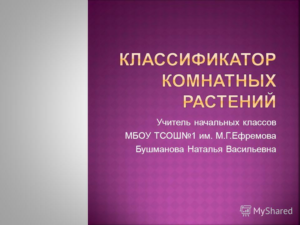 Учитель начальных классов МБОУ ТСОШ1 им. М.Г.Ефремова Бушманова Наталья Васильевна