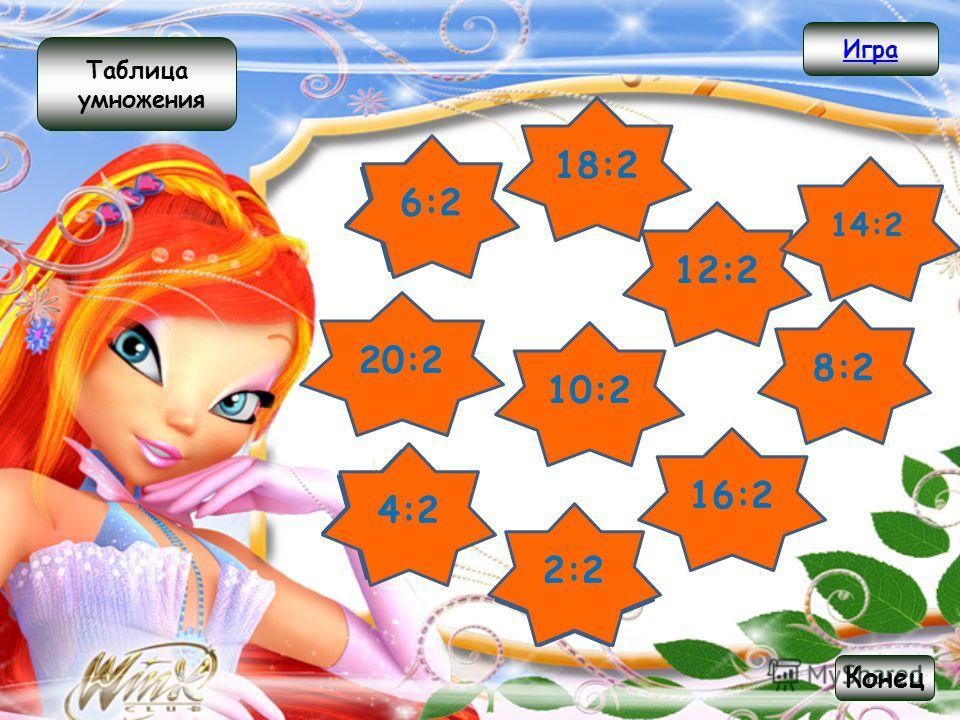 16 2 4 8 10 20 14 12 18 6 Таблица деления Игра Конец 3х2 9х2 7х2 4х2 6х2 10х2 2х2 1х2 5х2 8х2