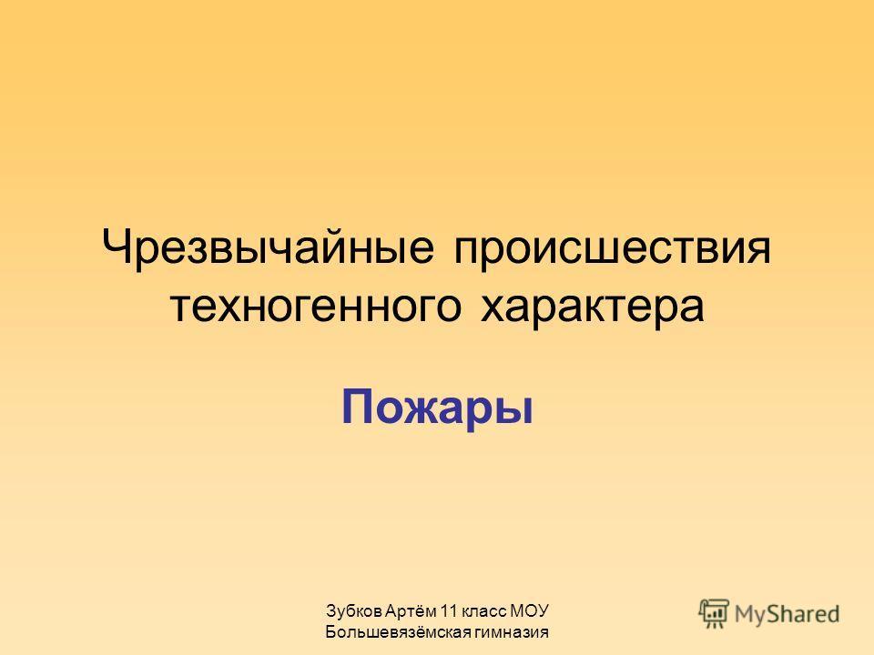 Зубков Артём 11 класс МОУ Большевязёмская гимназия Чрезвычайные происшествия техногенного характера Пожары