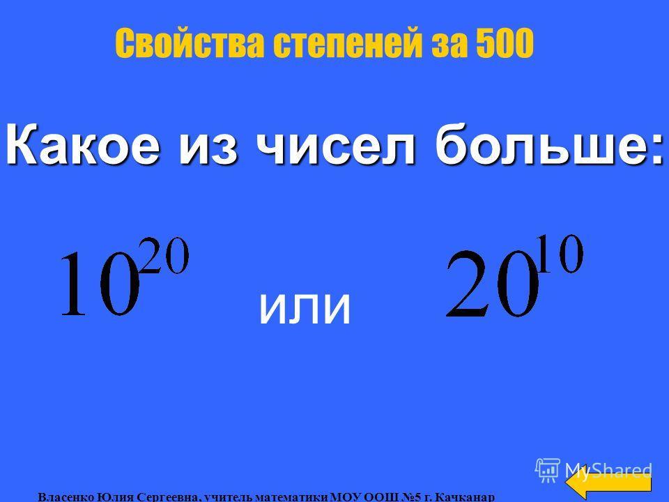 Вычислить: Свойства степеней за 400 Власенко Юлия Сергеевна, учитель математики МОУ ООШ 5 г. Качканар
